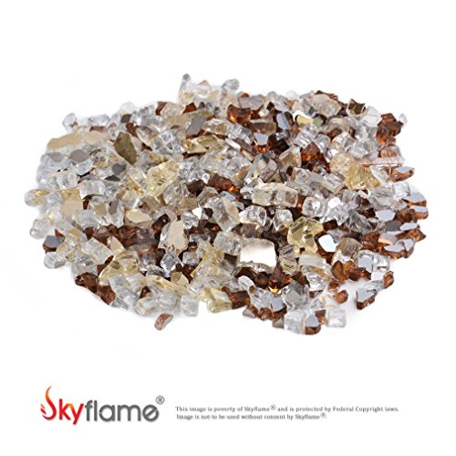 Skyflame 10-Pound Blended Fire Glass for Fire Pit Fireplace Landscaping, 1/2 Inch Gold, Platinum Copper, Reflective by Skyflame