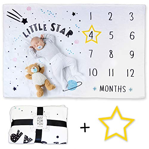 Baby Monthly Milestone Blanket Gifts for Pregnant Women Baby Shower Gift Blankets For Baby Star Frame