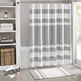 Grey Shower Curtain Madison Park Spa Waffle Shower Curtain With 3M Treatment - Water Repellent & Stain Resistant - Grey - 72(W) X 72(L) - Machine Washable