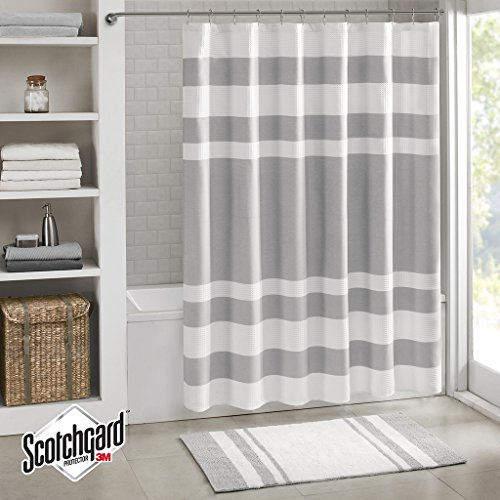 white and gray shower curtain - 2