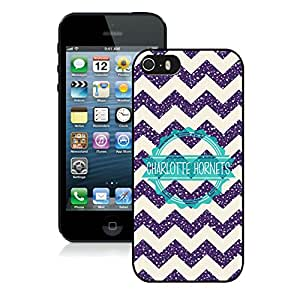 Popular And Unique Custom Designed Cover Case For iPhone 5 With Charlotte Hornets 6 Black Phone Case