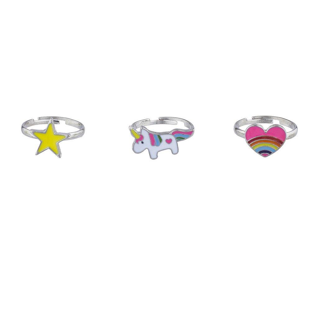 Lux Accessories, anelli argentati con magico unicorno, cuore arcobaleno, stella, 3 pezzi R274702-1-R329