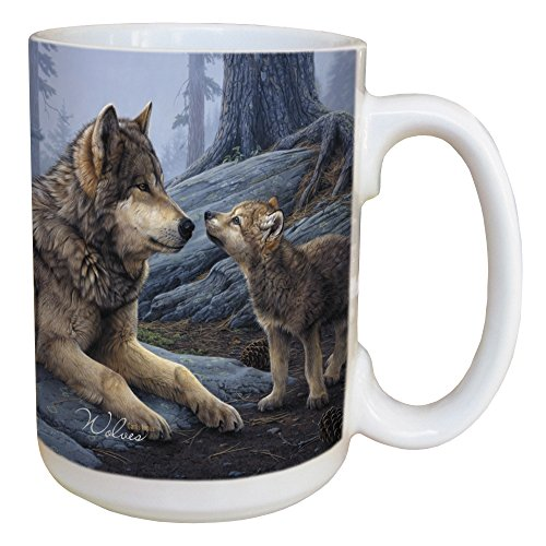 Tree-Free Greetings 45914 Daniel Smith Wolf Brothers Ceramic Mug with Full-Sized Handle, 15-Ounce - Wolf Ceramic Mugs