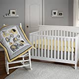 3 Piece Yellow Grey Baby Elephant Crib Bedding Set, Newborn Animal Themed Nursery Bed Set Infant Child Safari Africa Cute Gray Blanket Comforter Bold Border Geometric Lattice Pattern, Polyester Cotton