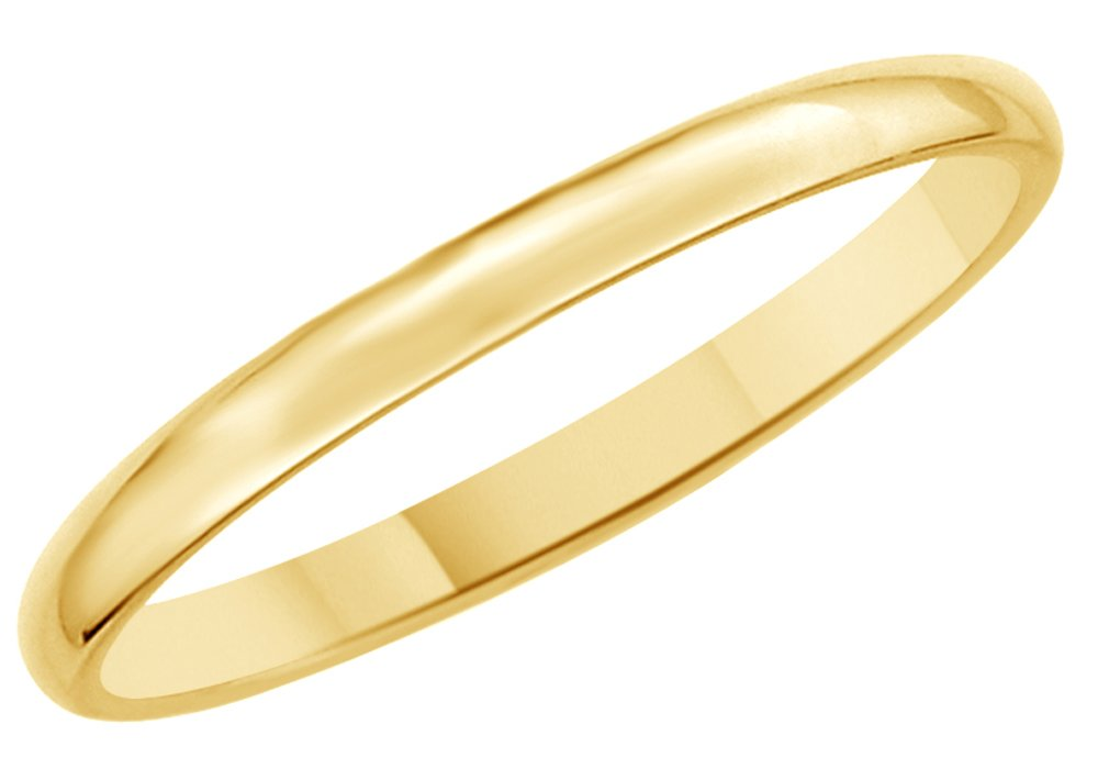 Solid 14K Yellow Gold 2mm Comfort Fit Men & Women Wedding Band Ring