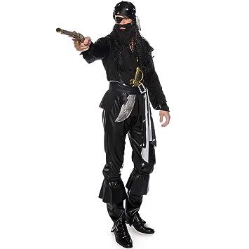 0-0 Halloween Adulto Negro para Hombre Barbudo Tuerto Juego ...