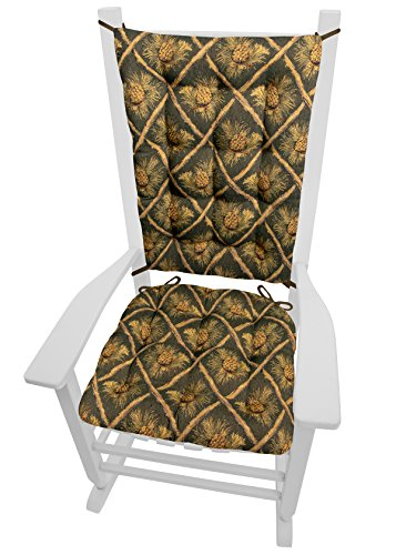 Barnett Products Wilderness Pinecones Green Rocking Chair Cushions - Size Extra-Large - Seat Cushion and Back Rest - Latex Foam Fill (Pine ()