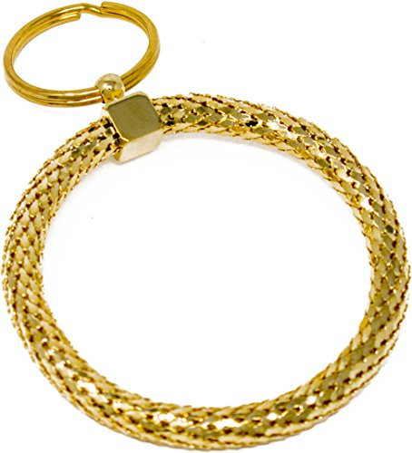 (Vintage Gold and Silver Metal Mesh Jewelry Keychain (Gold Large Circle))