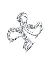 Gnzoe Silver Plated Cubic Zirconia Infinity Letter X Silver Rings Women