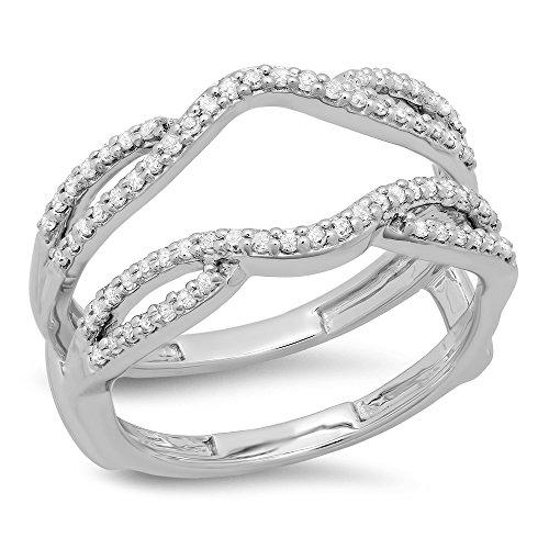 0.35 Carat (ctw) 10K White Gold White Diamond Wedding Band Enhancer Guard Double Ring 1/3 CT (Size 7.5)