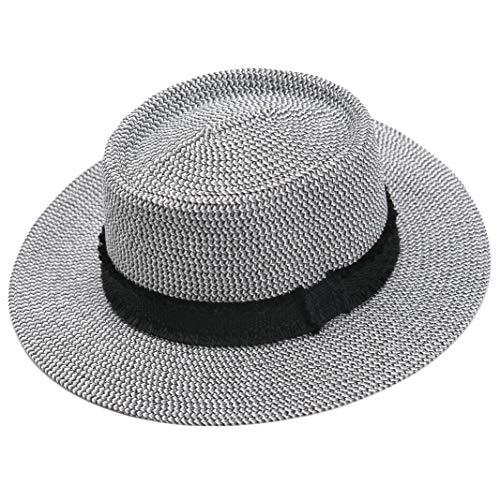 (accsa Women UPF50+ Protection Wide Brim Straw Panama Bucket Fedora Beach Sun Hat with Black Ribbon)