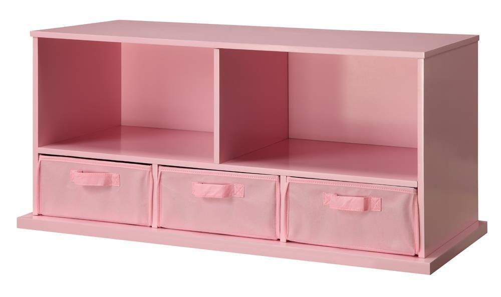 Badger Basket Shelf Storage Cubby with Three Baskets, Pink by Badger Basket