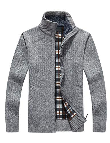 Yeokou Men's Casual Slim Full Zip Thick Knitted Cardigan Sweaters with Pockets (Medium, X-13-Light ()