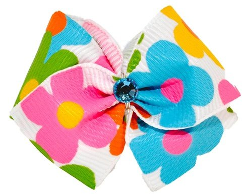 """Puppy Kisses """"Flower Power"""" Dog Hair Bow – Metal barrette closure, Made with SWAROVSKI ELEMENTS, My Pet Supplies"""