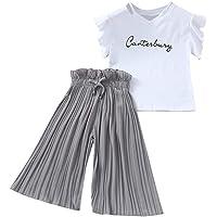 4-14 Años,SO-buts Niña Niñas Verano Letra Camiseta Tops + Volantes Pantalones Anchos Sueltos Trajes Traje, Traje De Bebé…