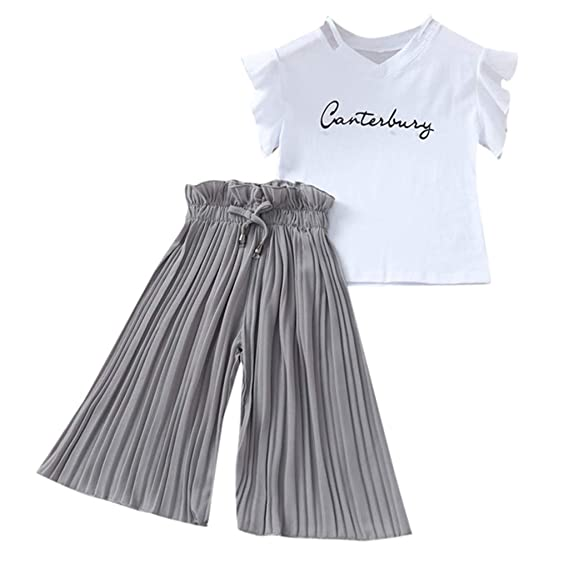Newborn Kid Baby Girl Letter Outfits Short Sleeve Top Long Trousers Clothes Suit