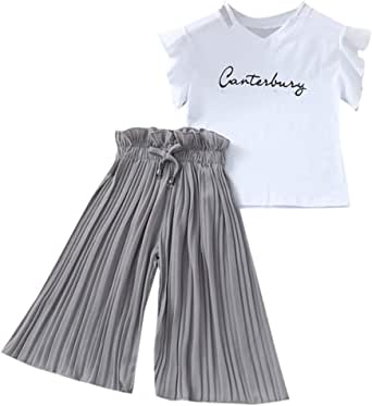 4-14 Años, SO-buts Niña Niñas Verano Letra Camiseta Tops + Volantes Pantalones Anchos Sueltos Trajes Traje, Traje De Bebé Para Sesión De Fotos: Amazon.es: Ropa y accesorios