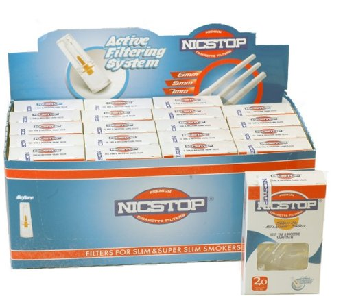 NICSTOP Slim & Super Slim Cigarette Filters 20 Packs (400 Filters) by NICSTOP