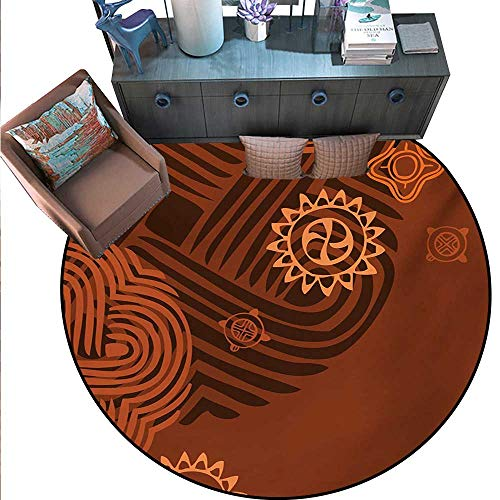 Earth Tones Non-Slip Round Rugs Artistic Ethnic Composition Floral Intricacy African Folk Details Living Dinning Room Bedroom Rugs (59