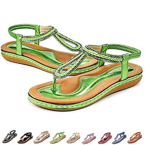 gracosy Women's Flat Sandals, Summer Beach Flip Flops Thong T-Strap Flat Rhinestone Beads Slipper Bohemia Elastic Slip On Green 10 M US
