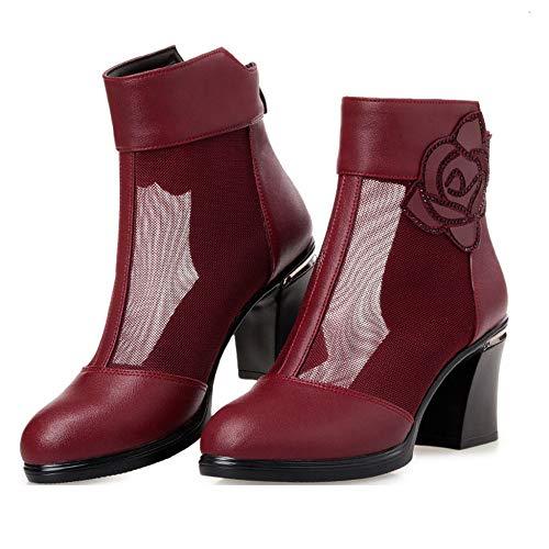 En Bottines Ajourées Haut Red Plnxdm Bottes Bouche Poisson Femmes Respirante Talon Chaussures Chelsea Sexy Dentelle vxpnASCv