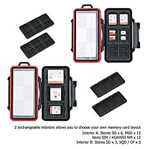 PROfezzion 48 Slots Universal Weatherproof Memory Card Carrying Case Anti-Shock Storage Holder for SD Micro SD CF Cfast XQD Nano Sim Huawei Nano Memory MSD TF CompactFlash Cfexpress SDXC SDHC Cards