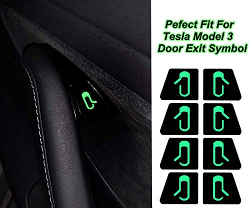 Magicalmai Tesla Model 3 Door Exit Decal Luminous Button Sticker Kit(Set of -