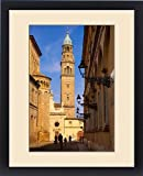 Framed Print of Bicycling down Via Cardinal Ferrari with Chiesa San Giovanni Evangelista, Parma