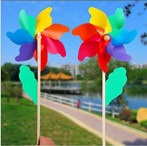 MTSZZF - Molinillo de viento para jardín (2 x 18 cm), diseño de flores: Amazon.es: Jardín