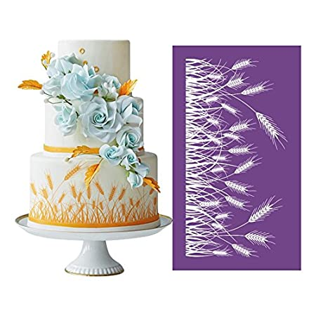 AK ART KITCHENWARE Barley Design Cake Mesh Stencils For Royal Icing Cake  Lace Mat Fondant Molds