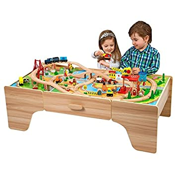 100pcs wooden train set with table  sc 1 st  Amazon.com & Amazon.com : 100pcs wooden train set with table : Baby