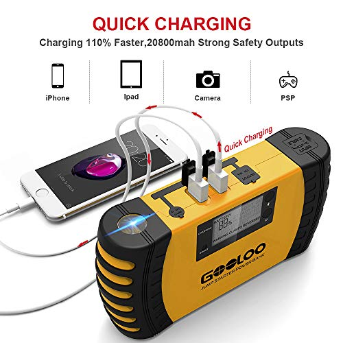 GOOLOO 1000A Peak 20800mAh SuperSafe Car Jump Starter with USB Quick Charge 3.0 (Up to 8.0L Gas, 6.0L Diesel Engine) 12V Auto Battery Booster Portable Charger Power Pack Built-in Smart Protection by GOOLOO (Image #2)
