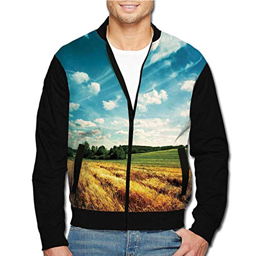 iPrint Men's Casual Long Sleeve Full Zip Fashion Jacket Multicolor Customized Style