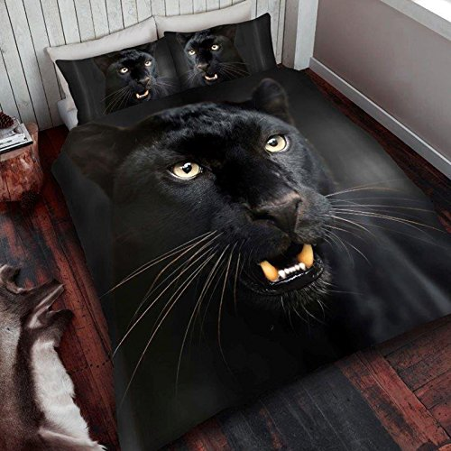 Close Panther Up Black (Black Panther King Size Duvet Cover and Pillowcase Set)