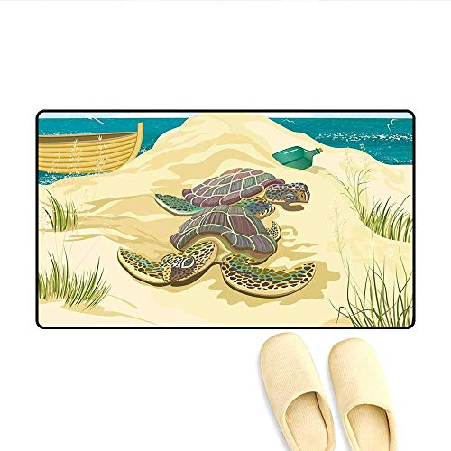 Door-mat Illustration of Two Sea Turtles on Sandy Summer Beach Boat Grass Bottle Door Mats for Inside Bathroom Mat Non Slip Pale Yellow Green Teal 24