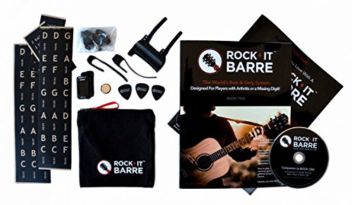 Rock-iT Barre Guitar Chord Device Advanced Plus Package w/Pinkie Attachments For Experienced Guitarists, W/Brown Stickers, Use On DARK & ALL INSTRUMENT NECKS (Black Device) ()