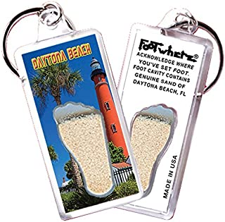 "product image for Daytona Beach""FootWhere"" Keychain. Authentic Destination Souvenir acknowledging Where You've Set Foot. Genuine Soil of Featured Location encased Inside Foot Cavity. Made in USA (DY105 - Lighthouse)"