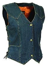 Ladies Side Lace 3 Snap Front Denim Vest (BLUE, XL)