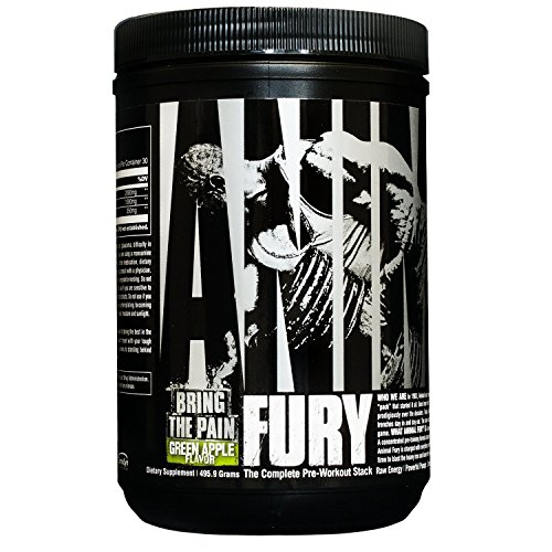 Animal Fury Pre-Workout Powder for Energy and Focus - 5g BCAA, 6g Citrulline Malate, 2g Beta Alanine, 1g L-Tyrosine, 350mg Caffeine - Complete PWO Stack, Green Apple - 30 Servings