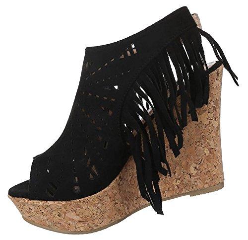 Damen Sandaletten Schuhe Schnür Keilabsatz Wedges Pumps schwarz beige camel 36 37 38 39 40 Schwarz
