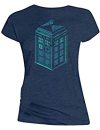 Doctor Who: Green and Blue Art TARDIS Juniors Tee Shirt (X-Large)