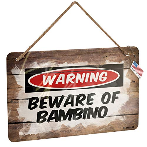 NEONBLOND Metal Sign Beware of The Bambino Cat from United States Christmas Wood Print