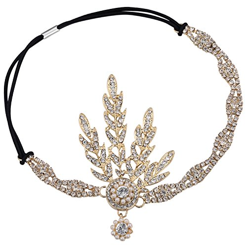 BABEYOND Art Deco 1920's Flapper Great Gatsby Inspired Leaf Medallion Pearl Headpiece Headband (Gold Headpiece)
