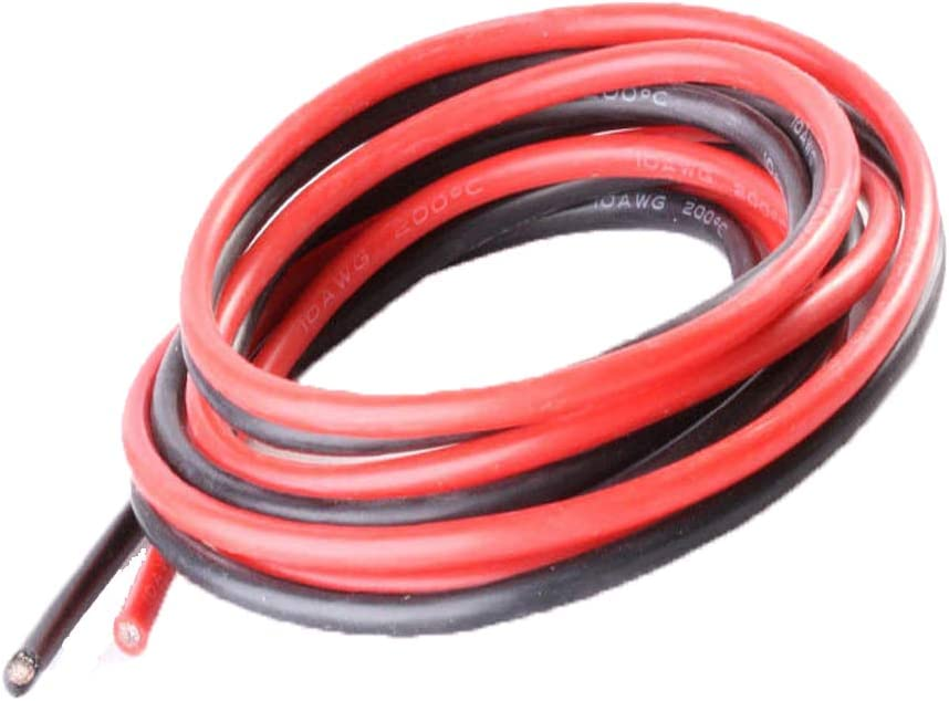 10AWG Yiqigou Pure Silicone Wire 10AWG Power Cable Battery Cable Tinned Copper Wire 10 Gauge RC Cable Lead 3.28ft Black and 3.28ft Red