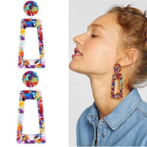 BleSky Acrylic Resin Dangle Drop Earring Geometric Tortoise Shell Stud Earrings(Multicolor)