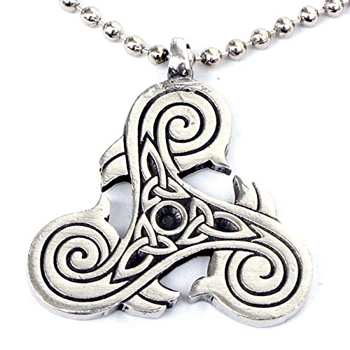 New Pewter Celtic Knot - Viking Druid Norse Celtic Pendant in Silver Triskele Triquetra Trikelion Pewter with Silver Ball Chain