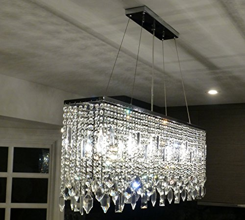 Chrome 40 inch rectangular crystal chandelier amazon mozeypictures Images