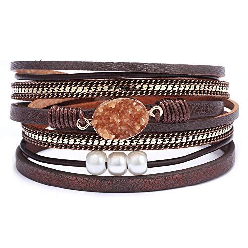 AZORA Womens Leather Wrap Bracelet Handmade Pearls Beads Cuff Bangle Bracelets for Women Girls (Brown - druzy Stone) ()
