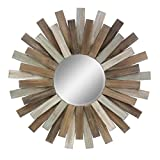 Stonebriar Large Round 32'' Wooden Sunburst Hanging Wall Mirror with Attached Hanging Bracket, Decorative Rustic Decor for the Living Room, Bathroom, Bedroom, and Entryway
