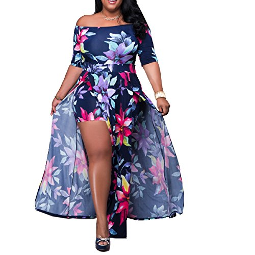 - Akmipoem Women's Off Shoulder Floral Print High Split Beach Maxi Dress Jumpsuit Romper,Dark Blue,X-Large
